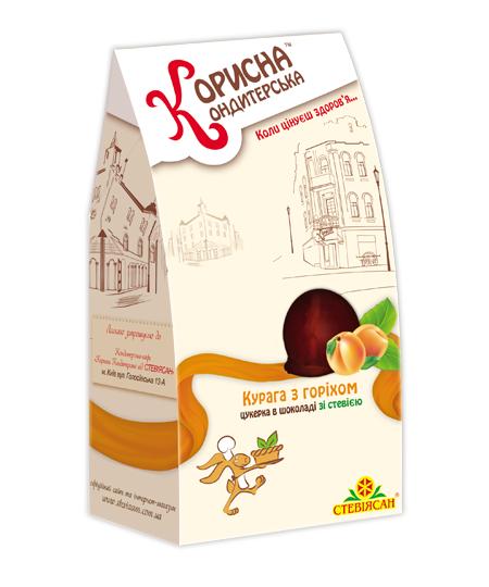 """Конфеты в шоколаде """"Курага с орехом"""" со стевией, 150 г"""