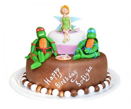 Торт на заказ «Динь-Динь и Черепашки Ниндзя»
