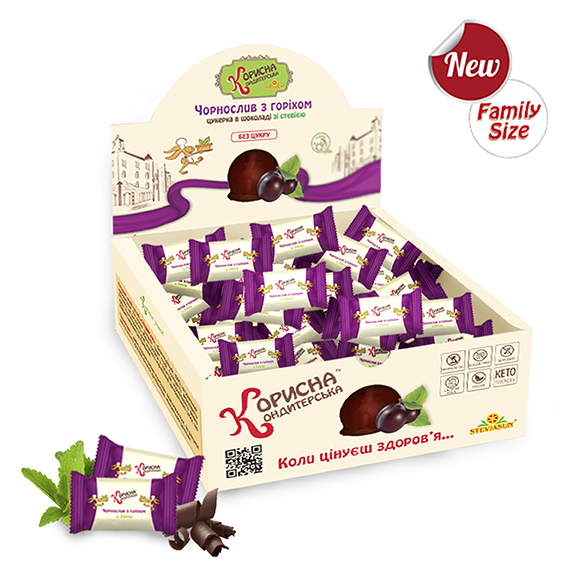 Цукерки в шоколаді «Чорнослив з горіхом» зі стевією